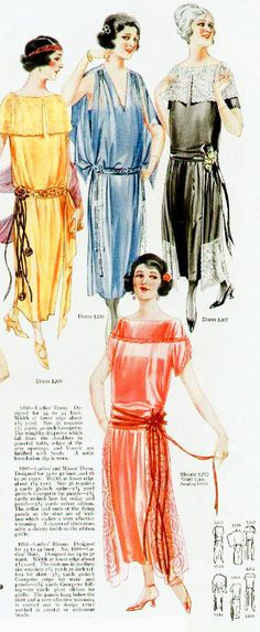 """These colorful dresses are from 1922 when bright colors started to take over from the less colorful Victorian fashions.    My downloadable eBook """"The One Hour Dress of 1924"""" contains two patterns for making a 1920's dress plus 76 color illustrations of 1920's fashions, along with other bonuses. If you want to create a flapper dress you will find our book has all the instructions you need. Find out more at http://www.onehourdress.com/"""
