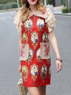 Red Lapel Pockets Print Shift Dress