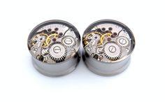 Clockwork Steampunk Vintage Watch Movement Ear Plugs / Tunnels  - Gears In Your Ears. 18mm /  11/16 inch gauge.