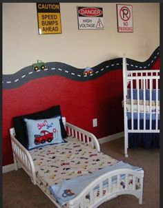 Easy Wall Paint Half Red And Road Lined Border Neat For Car Themed Nursery Add Our Transport Lampshade Ta Da