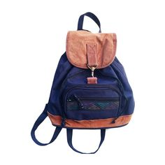 Navy Blue Mini Backpack   90's Suede Mini by Foxcultvintage