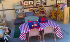 Check out this AMAZING preschool! Dramatic play ideas for outdoors.