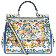 Dolce & Gabbana Medium Sicily Majolica Top Handle Bag (£1,550) ❤ liked on Polyvore featuring bags, handbags, structured top handle bag, top handle bags, top handle handbags, dolce gabbana purses and handle bag