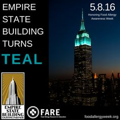 We're thrilled to officially announce that on May 8, the first day of Food Allergy Awareness Week, the Empire State Building @empirestatebldg  will be lit in teal! This is the first time that the iconic building has honored food allergies, and is something FARE has worked to make a reality for three years. The Empire State Building will shine in teal from sunset on Sunday, May 8, to 2 a.m. on Monday, May 9! See full calendar: http://www.esbnyc.com/explore/tower-lights/calendar