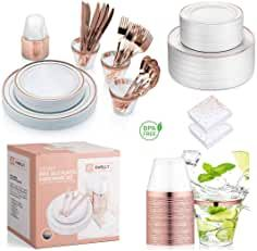 Price: (as of – Details) Tired of buying expensive dinnerware that cracks and shatters? Gold Plastic Plates, Plastic Silverware, Rose Gold Plates, Cutlery, Use Of Plastic, Plastic Cups, Disposable Tableware, Table Set Up, Bridal Shower Decorations