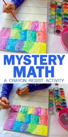 Mystery Math: A Crayon Resist Activity – HAPPY TODDLER PLAYTIME Here is a fun math activity that is part art and part detective work! It's an easy and unique way to get your kindergartner to practice their math skills! - Kids education and learning acts Math Activities For Toddlers, Kindergarten Math Activities, Fun Math Games, Math For Kids, Pre-school Maths, Crayons For Toddlers, Kindergarten Projects, Maths Puzzles, Kids Fun