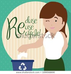 """Flat design with a young woman winking at you and promoting the proper trash sorting for Recycling Day with the three """"R"""" precepts: Reduce, Reuse and Recycle. Reduce Reuse, Flat Design, Sorting, Young Women, Disney Characters, Fictional Characters, Recycling, Royalty Free Stock Photos, Woman"""