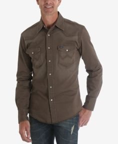 Wrangler Men's Authentic Western Long Sleeve Twill Shirt - Green S Western Style Shirt, Western Shirts, Denim Shirt Men, Wrangler Shirts, Mens Flannel, Twill Shirt, Camisa Polo, Outdoor Wear, Denim Fashion