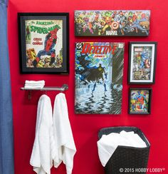 Photo Credit Hobby Lobby Creating A Display With Superhero Theme In This Bathroom Is Creative Way To Honour Collection Small E