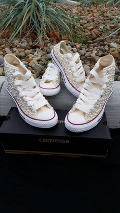 80a2e76dabec Bridal Converse- Wedding Converse- Bling   Pearls Custom Converse Sneakers-  Personalized Chuck Taylors