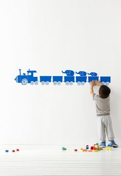 Tiny Trains in Blue Kids Wall Stickers