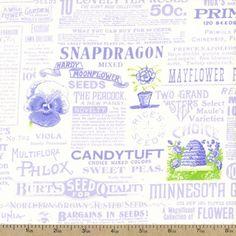 Hydrangea Text Print Cotton Fabric - Periwinkle