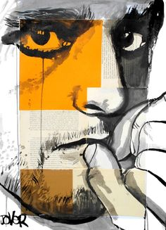 "Saatchi Online Artist: Loui Jover; Painting, Assemblage / Collage ""face on segmented paper"""