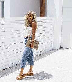 ☽☾ tan lines, cropped denim, messy beach hair and simple tanks