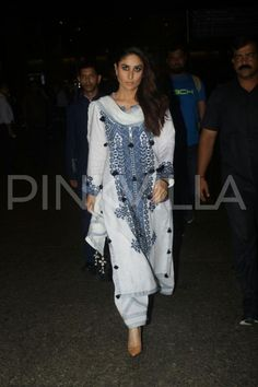 PHOTOS: Kareena Kapoor Khan returns to Mumbai; looks stunning in her white suit Casual Indian Fashion, India Fashion, Ethnic Fashion, Ethnic Outfits, Indian Outfits, Fashion Outfits, Pakistani Dress Design, Pakistani Outfits, Indian Attire