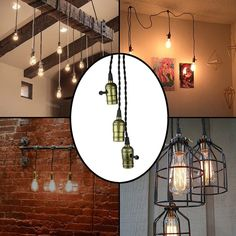 Vintage Triple Light Sockets Pendant Hanging Light Cord Kit Plug-in Light Fixture with On/Off Switch E26/E27 Base Retro Twisted Black Textile Cord for Industrial Light Fixture in Basement, Bedroom - - Amazon.com