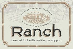 Ranch vintage font & illustrations by Gleb Guralnyk on @creativemarket