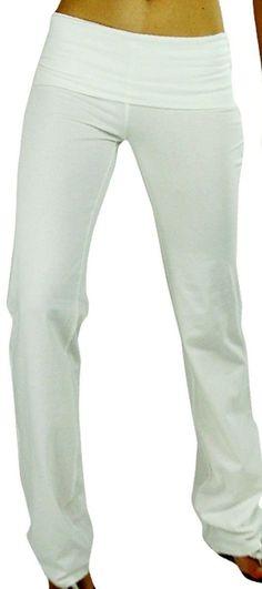 White Flare Leg Fold Over Fitness Long Yoga Pants, Fold Over Waist S, M, L