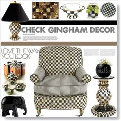CHECK GINGHAM DECOR AND FURNITURE by purplerose27 on Polyvore featuring interior, interiors, interior design, home, home decor, interior decorating, MacKenzie-Childs, INC International Concepts, The Elephant Family and Dot & Bo