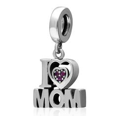 Soulbead Heart I Love Mom Charm with Fuchsia Cubic Zirconia 925 Sterling Silver Pendant Bead for European Mother's Day Bracelet or Necklace >>> Check this useful article by going to the link at the image. #Charms
