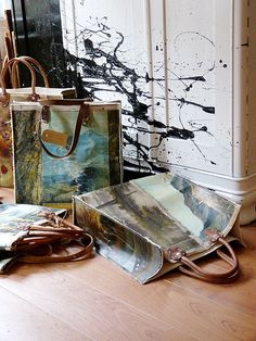 re-purposed paintings into bags by Leslie Oschmann. Painted Bags, Painted Canvas, Vanity Bag, Altered Book Art, Diy Bags Purses, Upcycled Vintage, Repurposed, Art Bag, How To Make Handbags