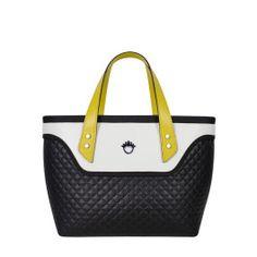 Kufer do ręki FLOWERBAG (czarno-biały, pikowany)