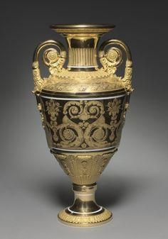 Vase, 1820, made by St. Petersburg Imperial Porcelain Factory, gilt porcelain.