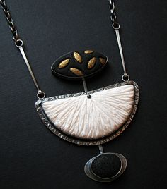 Black, White and Gold Series Pendant - Oxidized Sterling Silver and Polymer Clay. www.gracestokesdesigns.com