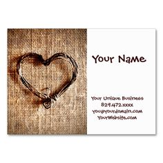 Rustic Country Twine Heart on Burlap Print Large Business Cards (Pack Of 100). I love this design! It is available for customization or ready to buy as is. All you need is to add your business info to this template then place the order. It will ship within 24 hours. Just click the image to make your own!