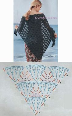 Crochet Beautiful Shawl Good evening everybody, who love elegant and cute creations, this is often another nice chance to create this easy and beautiful shawl with their own hands in j Crochet Diy, Poncho Au Crochet, Beau Crochet, Crochet Shawl Diagram, Crochet Wrap Pattern, Crochet Shawls And Wraps, Filet Crochet, Crochet Scarves, Crochet Lace Edging