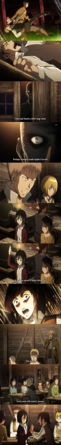 Shingeki no Kyojin - Attack on Titan - mikasa blaming the noise on sasha - Strip by mesy-design.deviantart.com on @deviantART