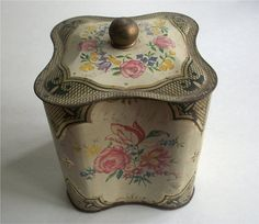 Lovely ANTIQUE DECORATIVE TIN Box with finial by vintagewarehouse, $10.50