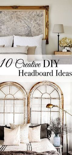 10 CREATIVE DIY HEADBOARD IDEAS - Tuft & Trim <br> A creative headboard can transform the look and feel of a room. Get inspired to make your own headboard with these tips and pictures of awesome DIY ideas. Diy Bed Headboard, Make Your Own Headboard, Headboard Designs, Headboard Ideas, Bohemian Headboard, Window Headboard, Bohemian Bedrooms, Trendy Bedroom, Unique Headboards