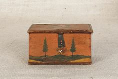 Jonas Weber, Lancaster County, Pennsylvania, ca. 1840, painted trinket box, the lid and sides decorated with flowers and the front with a la...