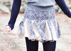 DIY Tutorial Clothes Refashion / DIY Cheerleader Skirt from Jersey Tube Skirt - Bead&Cord Cheerleader Rock, Cheerleading, Diy Upcycled Clothing No Sew, Diy Fashion Tops, Diy Clothes Tutorial, Diy Tutorial, Diy Fashion Projects, Fashion Hacks, Handmade Skirts