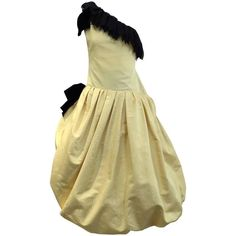 Vintage CHRISITAN DIOR  COUTURE  yellow and black one shoulder cocktail dress