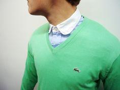 Classic., lacoste green sweater, romantic neck