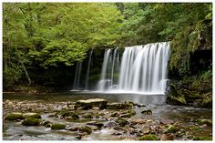 Sgwd Ddwli Uchaf waterfall in the Brecon Beacons National Park, Wales