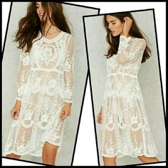 Long Sleeve Lace Dress Beautiful all lace mid length dress. One size, see chart. You'll have the  most gorgeous beach cover out there! Or wear on top of a crop top and shorts as a dress Swim Coverups