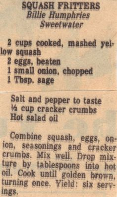 Recipe Clipping For Squash Fritters Retro Recipes, Old Recipes, Vintage Recipes, Cooking Recipes, Family Recipes, Cooking Ideas, Bread Recipes, Veggie Dishes, Vegetable Recipes