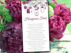 Mason Jar Wedding Honeymoon Fund Card Template - Rustic Wedding Invitation Insert Wine Gray Wedding Card - Wedding Card Box Insert Printable on Etsy, $10.00