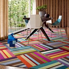 FLOR's Parallel Reality carpet tiles set on the diagonal