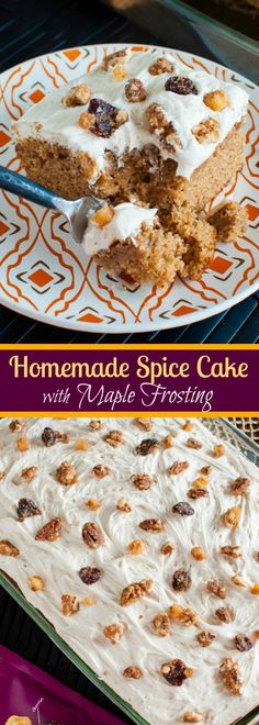 Homemade Spice Cake with Maple Frosting and Maple Glazed Pecans - the perfect Thanksgiving or Christmas dessert recipe! As easy as a box mix but tastes SO much better! Pumpkin Cake Recipes, Easy Cake Recipes, Best Dessert Recipes, Frosting Recipes, Cupcake Recipes, Easy Desserts, Sweet Recipes, Delicious Desserts, Fall Recipes