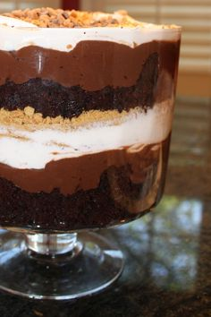 My famous Smores Chocolate Trifle! Layers of Devil's Food Cake, Chocolate Pudding, marshmellow creme and Cool Whip, Graham Cracker Crumbs and Chocolate Chips mmmm