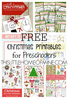 Free Christmas Printables for Preschoolers - This Little Home of Mine #wintercraftsforkids