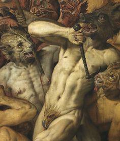 Franz Floris de Vriedt: _La caida de los ángeles rebeldes_, detalle, 1554