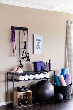 Home Gym Set, Small Home Gyms, Diy Home Gym, Gym Room At Home, Home Gym Decor, Best Home Gym, Workout Room Home, Workout Rooms, Workout Room Decor
