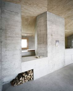Although this house looks a little like a prison, I love the palette of the grey Salk-esque concrete and raw unfinished wood. [Haus Presenhuber, Vnà]