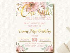 First Birthday Invitation Floral Boho Chic Invite by DesignOnPaper