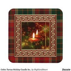 Celtic Tartan Holiday Candle Set of 6 Coasters